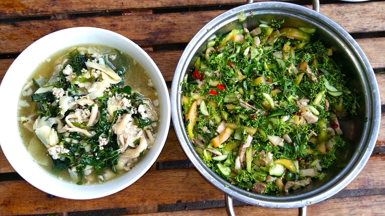 How To Make Mushroom Bamboo Shoot Soup And Neem Salad With Pork - Cambodian Family Healthy Food