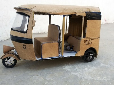 How to Make Real Auto Rickshaw || At Home with cardboard || home made auto rickshaw
