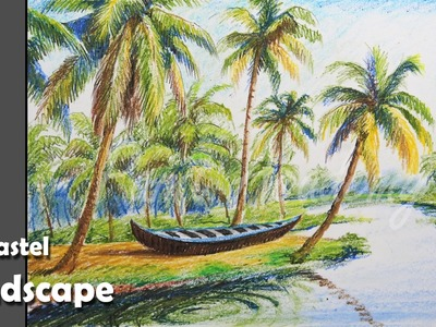 How to Paint A Riverside Landscape with Oil Pastel