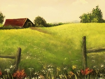 How to Paint an EASY Farmhouse Landscape Lesson 1 Step by Step