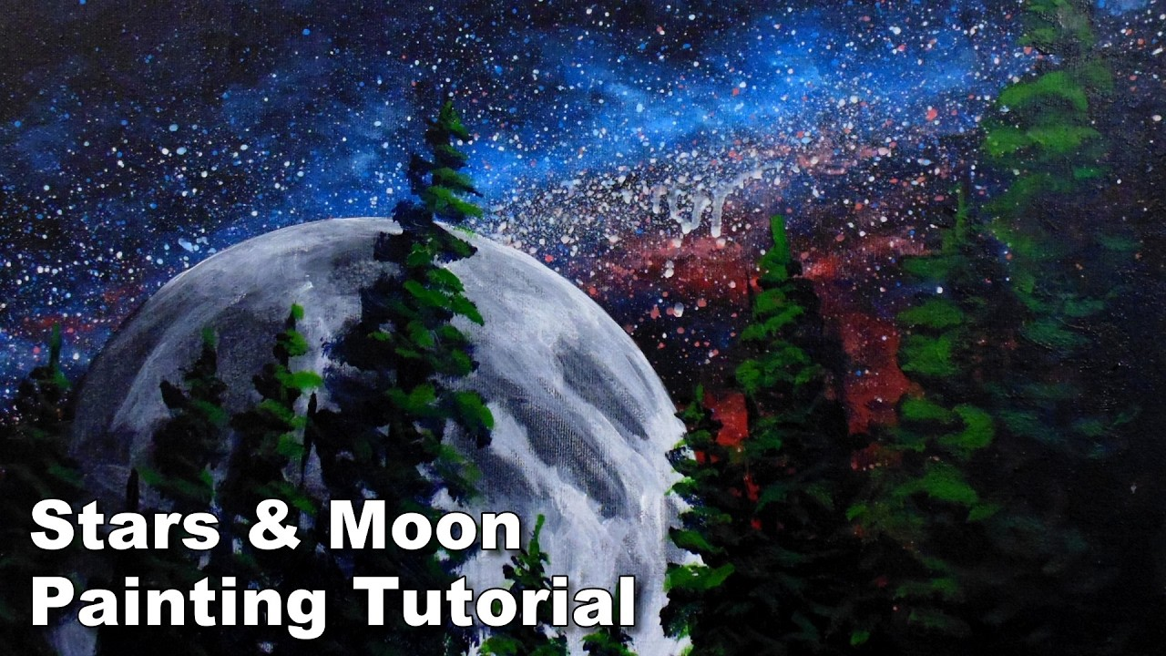 How to paint the moon and stars in acrylic time lapse