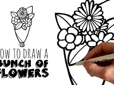 How to Sketch and Draw a Cartoon Bunch Of Flowers - zooshii Style