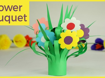 Kids Crafts - Paper Flower Bouquet, Easy Step By Step Tutorial