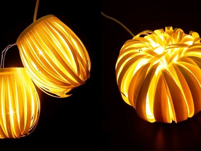 Paper cup light decor - Striped lantern & Chrysanthemum - EzyCraft