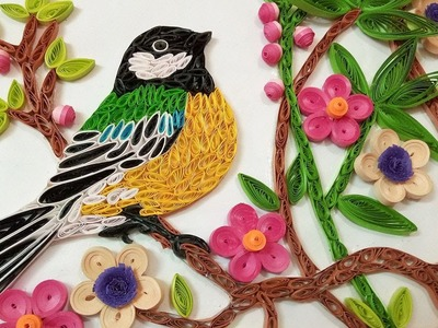Quilling Wall Decorations | A Beautiful ????Bird Eating Fruits From Tree | Paper Quilling Art |