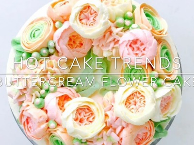Ranunculus and Hydrangea Buttercream flower cake - how to make by Olga Zaytseva.CAKE TRENDS 2017 #8
