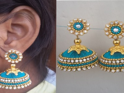 Simple & beautiful latest silk thread jhumkas ! how to make silk thread earrings at home ! tutorial