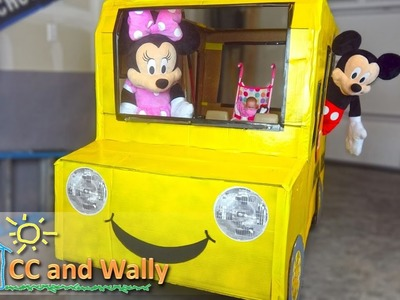 Wheels on the Bus | School Bus made out of cardboard.  A How-To video