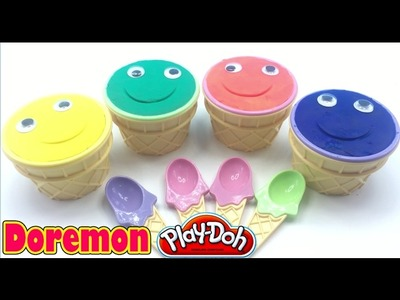 Diy Play Dough Cups Smiley Face Learn Colors w DORAEMON,SPIDERMAN,HULK Toys, Best Learning Colors