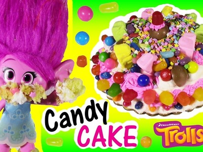 Dreamworks TROLLS Poppy Eats a Magical CANDY CAKE! DIY Cake! Decorate with Gumballs & Sweets! FUN