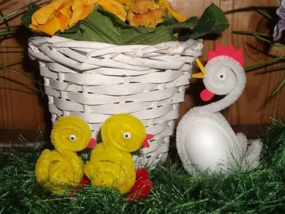 How to make Easter chicken using pipe cleaner.DIY video tutorial.