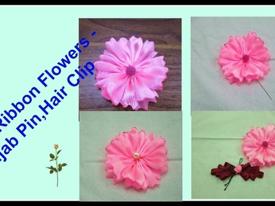 How To Make Ribbon Flowers - Hijab Pin,Hair Clip :)