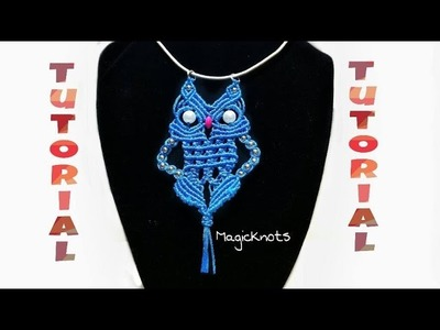 Micro Macrame Blue OWL Pendant 5 ♥ DIY ♥