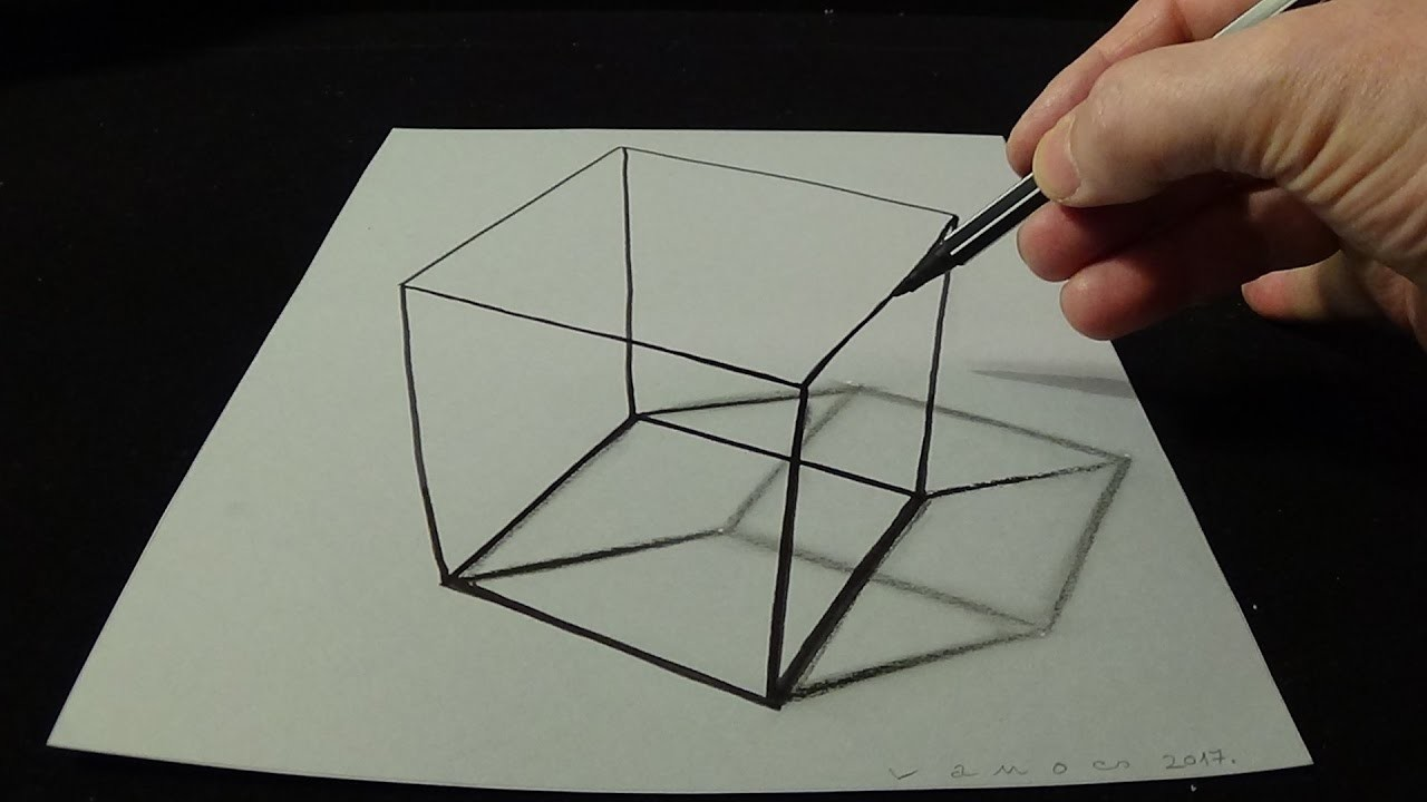 Easy 3d Line Drawings : D drawing a simple cube no time lapse how to draw
