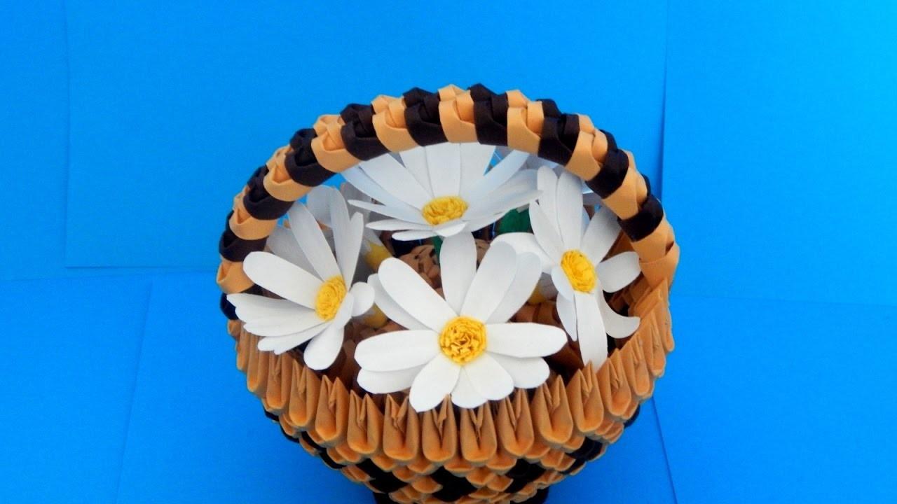 3d origami small basket tutorial (daisy flowers)