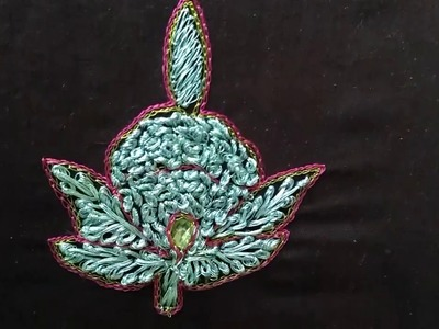 Aari and hand embroidery work - Flower design