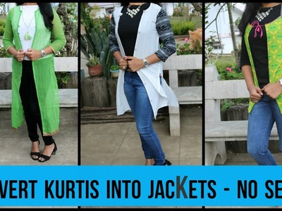 Convert Kurti's To Jackets -DIY | Long And Short Jacket | No sew