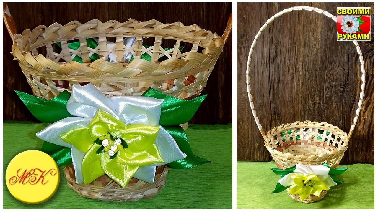 Decorating of a basket with kanzashi flowers for a sweet bouquet, DIY, master class