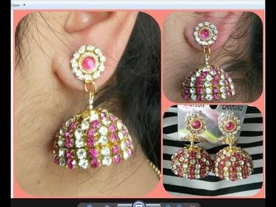 Designer wear silk thread bridal jhumka |tutorial-2