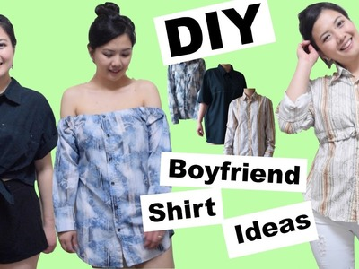 DIY BOYFRIEND SHIRT IDEAS.Front Bow Tie Crop Top.Tube Dress.Relaxed Fit Long Sleeve Top.NO SEW