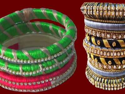 DIY + How to turn (Recycling ) your old bangles into Fancy Silk Tread Bangles!! | Jewelry Making!