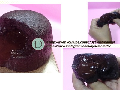 DIY SQUISHY LAVA CAKE (WITH SLIME CHOCOLATE) ~ Cara membuat Squishy Bolu Lava