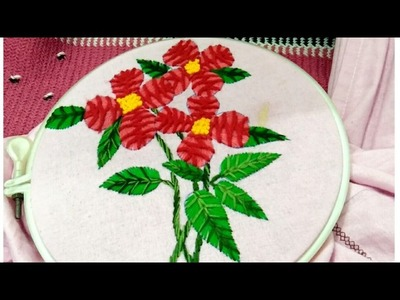 Hand embroidery combination of very easy basic stitches beautiful flower and leaf