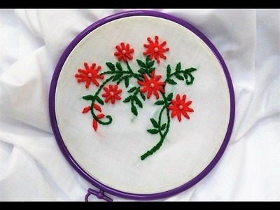 Hand Embroidery - Cute Flowers with Lazy Daisy Knot and Bullion knot Stitch