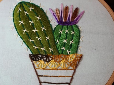 Hand Embroidery Designs | Cactus design | Stitch and Flower-122