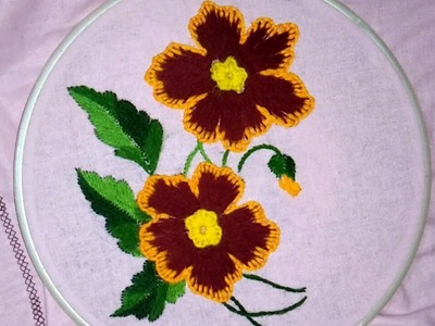 Hand embroidery flower with easy basic stitches buttonhole and spreaded Romanian stitch