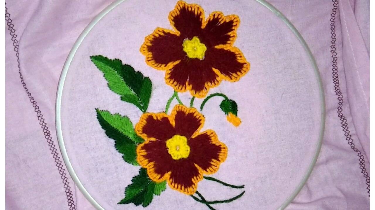 Hand embroidery flower with easy basic stitches buttonhole