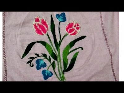 Hand embroidery long and short stitch shading tulip flower