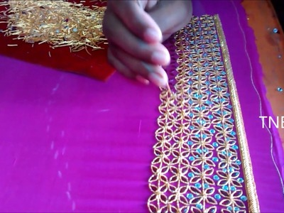 Hand embroidery tutorial for beginners, zardozi embroidery, mirror work blouse online shopping india