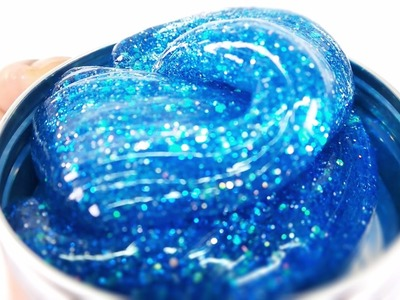 How To Make Super Glitter Slime | Blue Shiny Slime ! With Contact Lens Solution~ MonsterKids