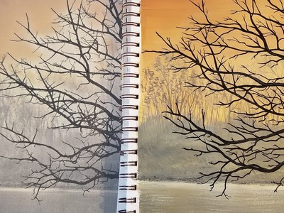 Silhouette Tree Painting Time Lapse FREE Acrylic Tutorial for Beginners