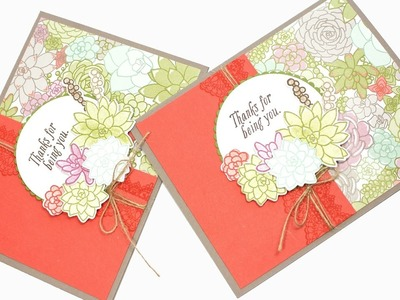 Stampin' Up! Oh So Succulent Paper & Ink Sketches Thank You Card