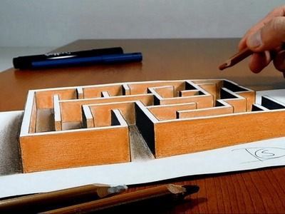 Try to do 3D Trick Art on Paper , Maze