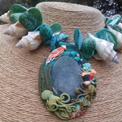 Beautiful detailed Moss Agate & Polymer Clay and Sea Shell Necklace with Octopuses  Ask a question £166.00