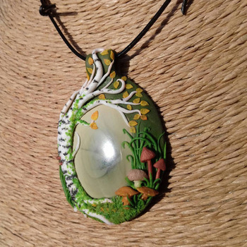 Beautiful handmade Polymer Clay Pendant/Necklace/Amulet/Talisman: Birch Tree and Mushrooms surrounding Imperial Jasper