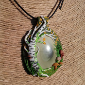 Beautiful handmade Polymer Clay Pendant/Necklace/Amulet/Talisman: Birch Tree and Mushrooms surrounding Imperial Jasper