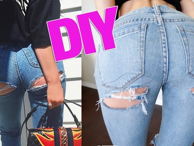 DIY Kylie Jenner Butt Ripped Jeans