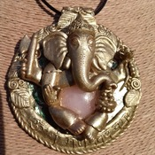 Magnificent Handmade Ganesh polymer clay pendant/amulet/necklace with Paua shell and Rose Quartz