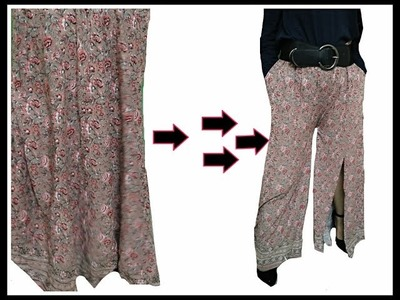 How to make palazzo pant with old skirt |2 steps |D.I.Y.|