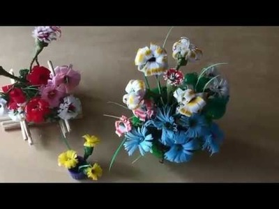 How to make straw flower - Recycled art and crafts for kids