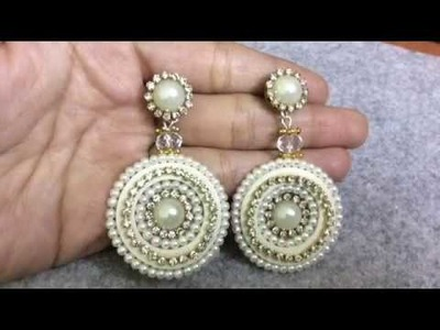 Silver sparkle Quilling earrings with paper base and quilling tutorial.AK Handicraft