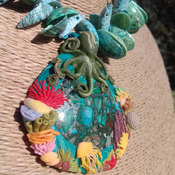 Striking, very detailed Polymer Clay and Sea Sediment Jasper and Sea Shell Necklace with Octopus and Coral