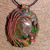 Stunning detailed Polymer Clay Autumn Tree and Rhyolite Gemstone Necklace/Pendant/Amulet/Talisman