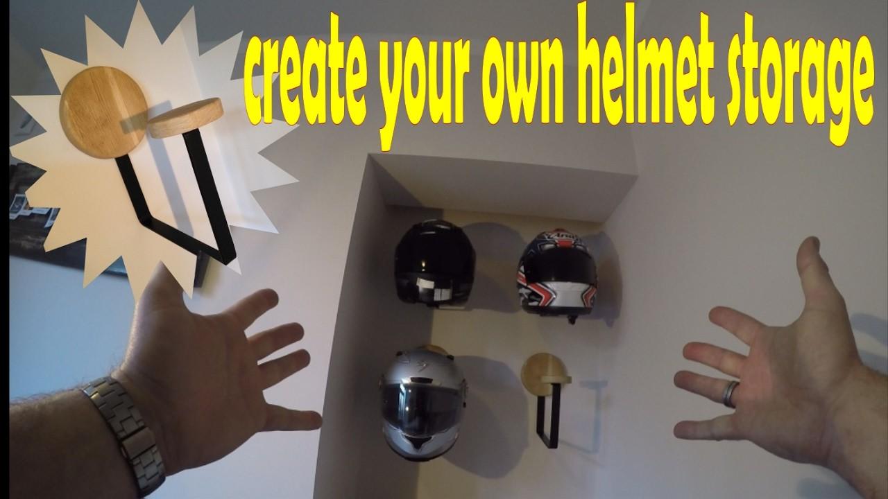 How to create your own helmet storage. helmet wall mount. helmet rack