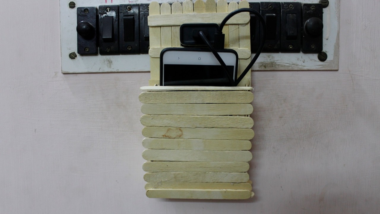 How to make charging holder using Popsicle sticks