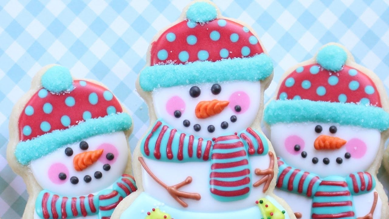Christmas or holiday cookies - Snowman Cookies with a snow-globe body